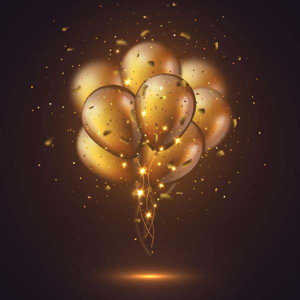 Realistic 3D glossy golden ballons.